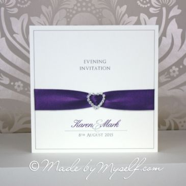 Printed Ribbon Heart Invitation